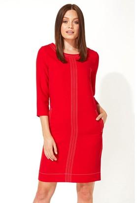 M&Co Roman Originals 3/4 sleeve top stitch shift dress