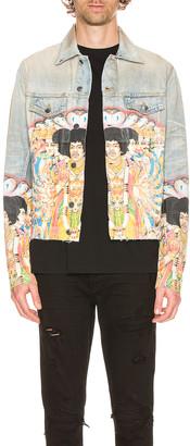 Amiri Jimi Hendrix Printed Trucker Jacket in Bone Indigo | FWRD