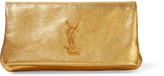 Saint Laurent Monogramme West Hollywood Fold-over Metallic Textured-leather Clutch - Gold