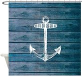 CafePress - Anchor On Faux Wood Fabric - Decorative Fabric Shower Curtain