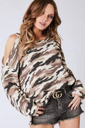 Bibi Camo Thermal Waffle Cold Shoulder Top