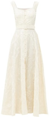 Marta Ferri - Belted Floral-embroidered Linen Gown - Cream