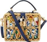 Dolce & Gabbana Rattan Maiolica Print Box Bag