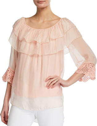 Tiered Neck 3/4 Crochet Sleeve Silk-Blend Top