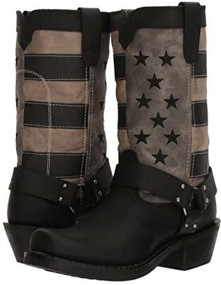 Durango Flag Harness Boot 11 (Black/Charcoal/Grey) Cowboy Boots