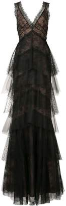 Marchesa floral lace layered gown