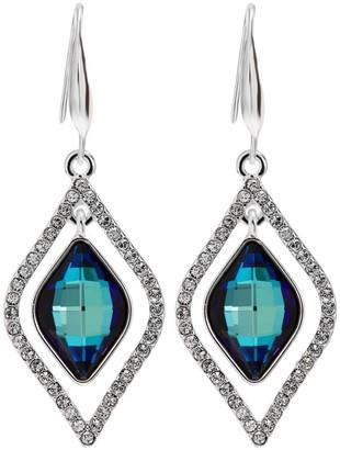 Jon Richard Jewellery Jon Richard made with Swarovski crystals Silver Plated Blue Frame Earrings Embellished With Swarovski Crystals