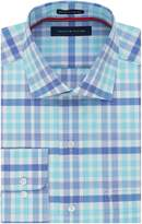 Tommy Hilfiger Men's Non Iron Regular Fit Plaid Spread Collar Dress Shirt