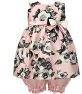Jayne Copeland 2-Piece Floral Dress and Bloomer Set in Pink/Grey