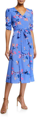 Eliza J Floral Ruched-Half-Sleeve Midi Dress
