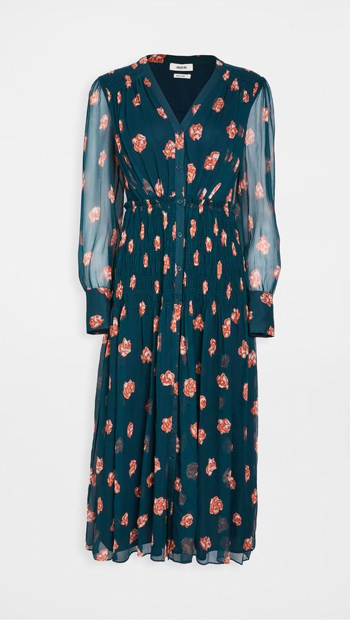 Jason Wu Printed Smocked Waist Dress