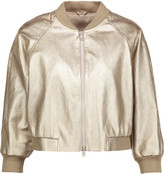 Brunello Cucinelli Cropped metallic textured-leather bomber jacket