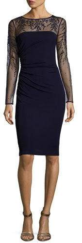 David Meister Long-Sleeve Jersey Illusion Cocktail Dress, Dark Navy