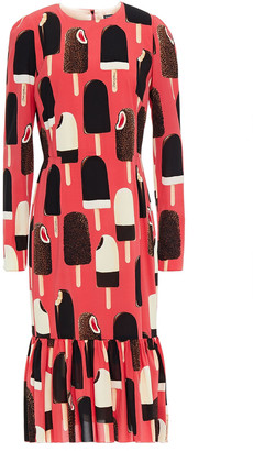 Dolce & Gabbana Fluted Printed Silk-blend Crepe Midi Dress