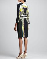 Etro Printed Pleated Bracelet-Sleeve Dress
