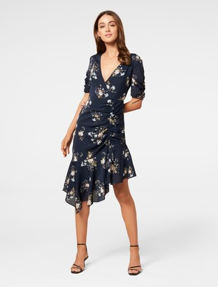 Ever New Aleena Ruched Asymmetrical Wrap Dress