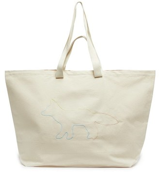 MAISON KITSUNÉ Xxl Rainbow Profile-embroidered Cotton Tote Bag - White