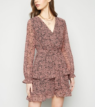 New Look Floral Chiffon Ruffle Wrap Dress