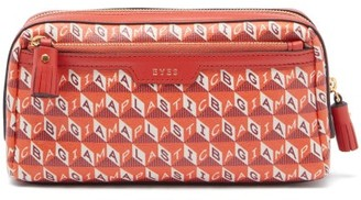 Anya Hindmarch I Am A Plastic Bag Printed-canvas Make-up Bag - Orange Multi