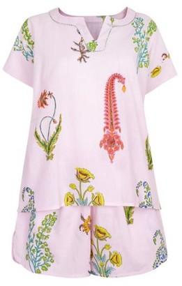 Nologo Chic Botanical Pj Shorts - Pure Cotton - Dusky Pink
