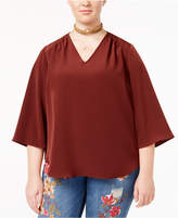 Melissa McCarthy Trendy Plus Size V-Neck Bell-Sleeve Blouse