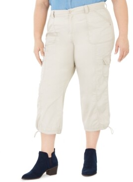 Style&Co. Style & Co Plus Size Cotton Bungee Cargo Capri Pants, Created for Macy's
