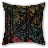 NICEPLW oil painting Johans Valters - Expressive firs throw pillow covers 18 x 18 inches / 45 by 45 cm gift or decor for bar seat,lounge,son,car,teens girls,kids boys - 2 sides