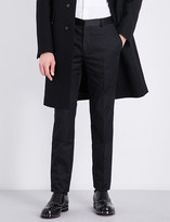 Alexander McQueen Satin waistband slim-fit cotton and silk trousers