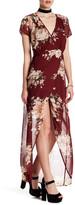 Just For Wraps Short Sleeve Floral Mock Wrap Dress