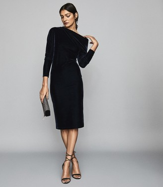 Reiss Valeria - Off-the-shoulder Velvet Bodycon Dress in Navy