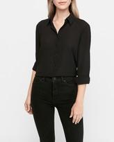 Express Textured Long Sleeve Button-Up Shirt