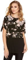 Quiz Black And Blush Floral Hem Top
