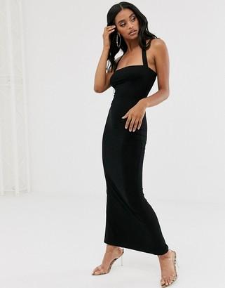 Asos DESIGN going out 90's halter maxi dress