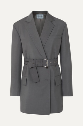 Prada Belted Mohair And Wool-blend Blazer - Gray