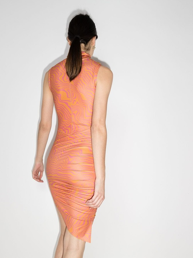 Thumbnail for your product : MAISIE WILEN Asymmetric Marble-Print Mini Dress