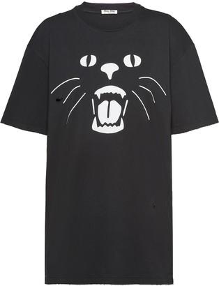 Miu Miu cat print T-shirt