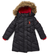U.S. Polo Assn. Black & Hibiscus Hooded Long Puffer Jacket - Toddler & Girls