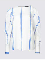 Limited Edition Striped Round Neck Puff Sleeve Shell Top