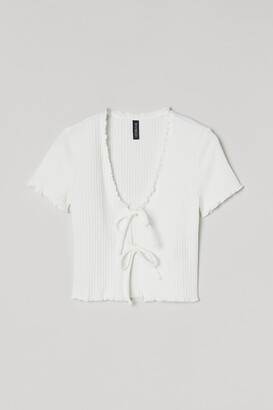 H&M Tie-front Ribbed Top