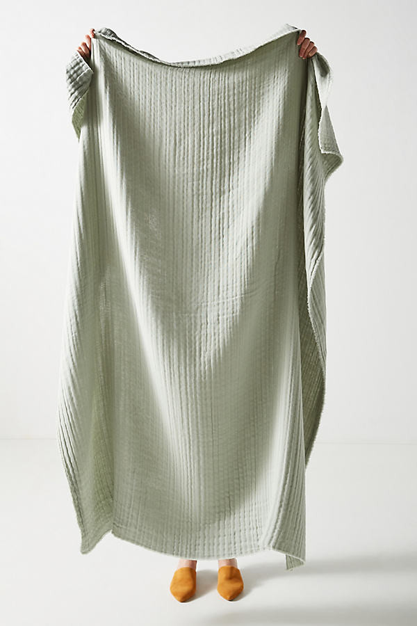 Airy Gauze Throw Blanket By Anthropologie in Yellow