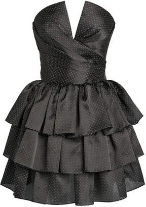 Rasario Silk Polka-Dot Print Dress