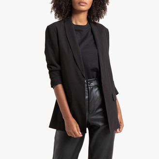 La Redoute Collections Longline Straight Single-Breasted Blazer with Pockets