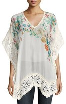 Johnny Was Le Beau Floral-Print Georgette Poncho, White