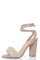 Quiz Nude Faux Fur Detail Block Heel Sandals