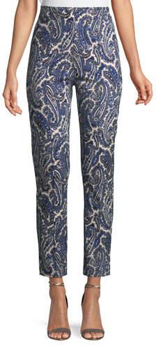 Diane von Furstenberg Mid-Rise Paisley Skinny-Leg Pants