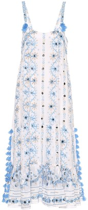 Juliet Dunn Embellished cotton midi dress
