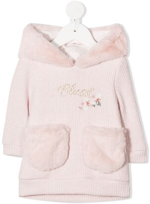 Lapin House Faux Fur-Trimmed Hoodie Dress