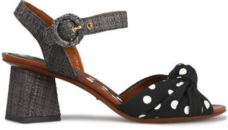 Dolce & Gabbana Printed Crepe And Woven Straw Sandals