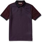 Burberry Panelled Jacquard and Cotton-Piqué Polo Shirt