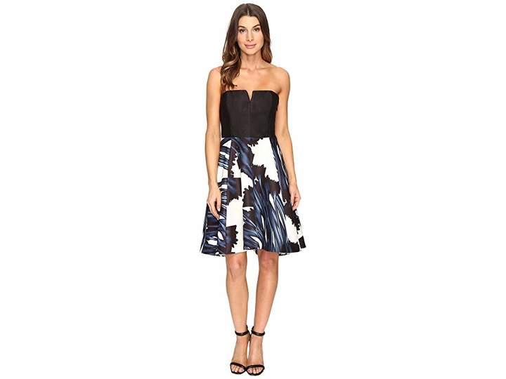 Halston Strapless Notch Neck Printed Dress Women's Dress